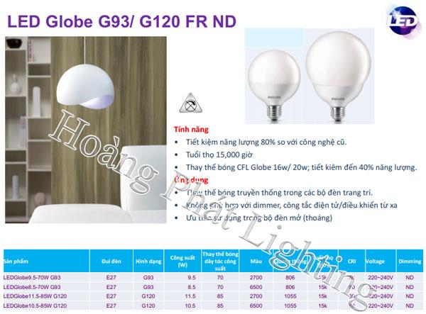 Bóng đèn Led Globe10.5-85W G120 Philips