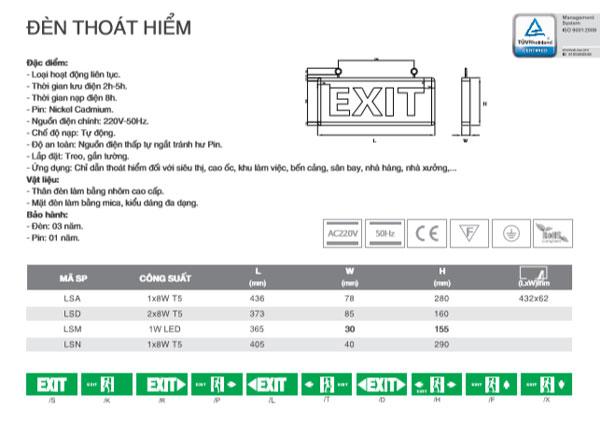Thông số kỹ thuật Đèn Exit LSM Duhal