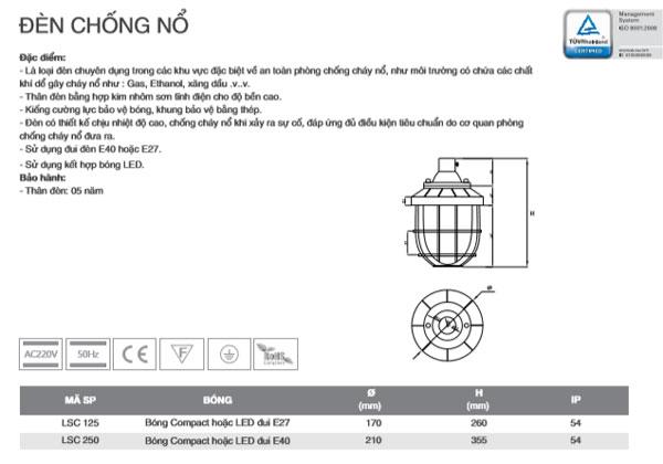 Đèn chống cháy nổ LSC250 Duhal