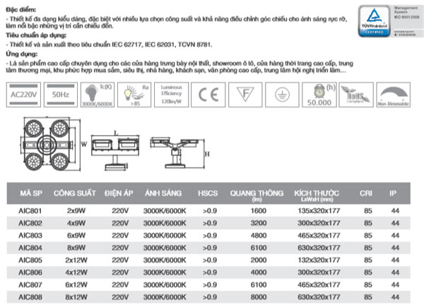 Đèn led chiếu điểm AIC801 Duhal