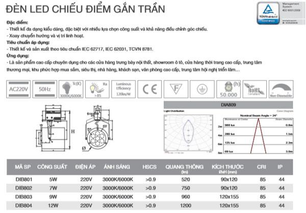 Đèn led chiếu điểm gắn trần 7W DIB802 Duhal