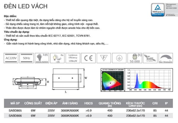 Đèn led gắn tường 6W SABD805 Duhal