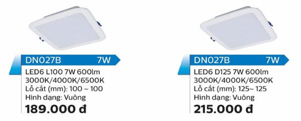 Model đèn led ôp trần 7W DN027C Philips
