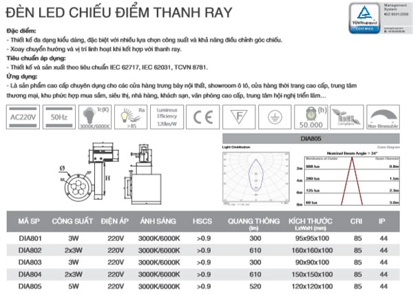 Đèn eld thanh ray 3W DIA801 Duhal