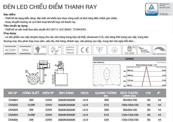 Đèn led thanh ray 5W DIA802 Duhal