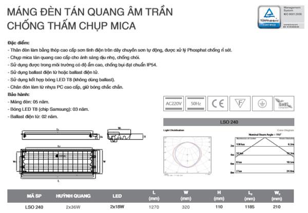 Máng đèn âm trần Mica chống thấm T8 1M2 2X36W SLO240 Duhal