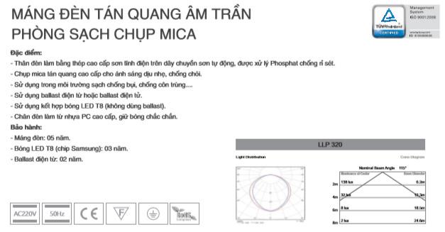 Máng đèn âm trần Mica phòng sạch LLP340 Duhal