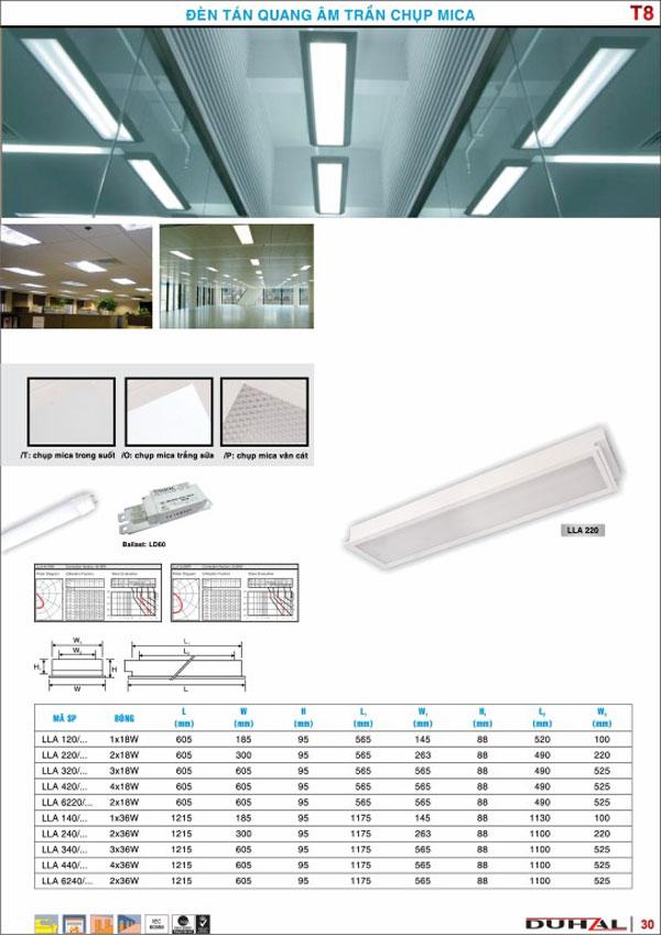 Máng đèn âm trần chụp Mica 2x36W T8 LLA 6240/P Duhal