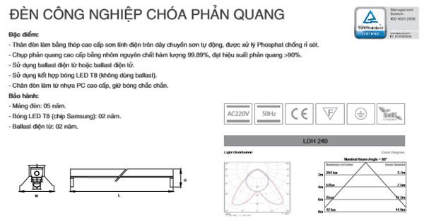 Máng đèn công nghiệp chóa phản quang T8 1m2 1X36W LDH140 Duhal