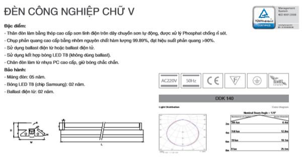 Máng đèn công nghiệp chữ V DDK140 Duhal