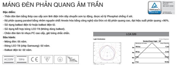 Máng đèn led âm trần T8 1m2 4X18W ICA420 Duhal
