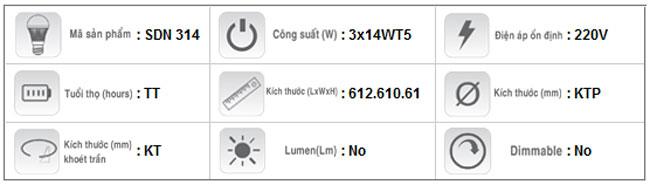 Máng đèn phản quang gắn nổi T5 3x14W SDN 314 Duhal