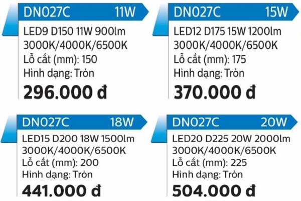 Model dòng đèn ốp trần DN027C Philips