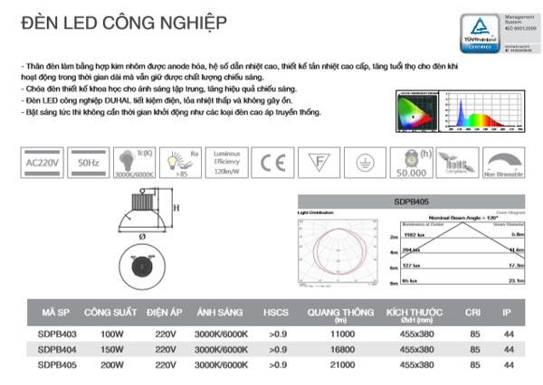 Đèn led công nghiệp 150W SDPB404 Duhal