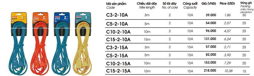 cap noi dai 5m 10A C5-2-10A