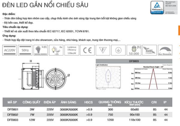 Đèn led âm trần chiếu điểm DFB801 Duhak