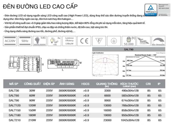Thông số kỹ thuật dèn Led đường cao cấp 60W SALT60 Duhal