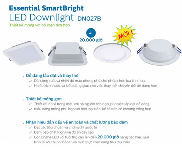 Đèn led âm trần vuông 7W DN027B Philips