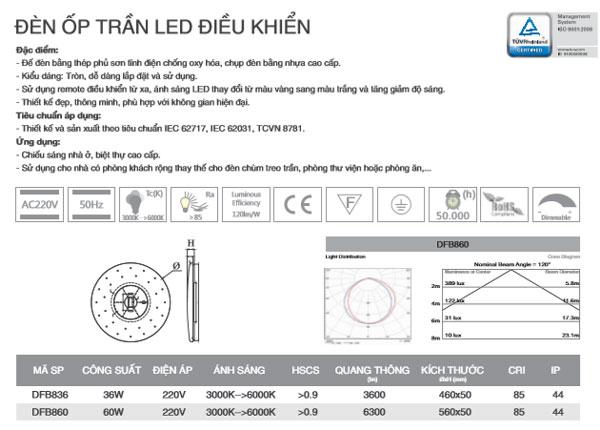 Đèn led ốp trần điều khiển từ xa 36W DFB36 Duhal