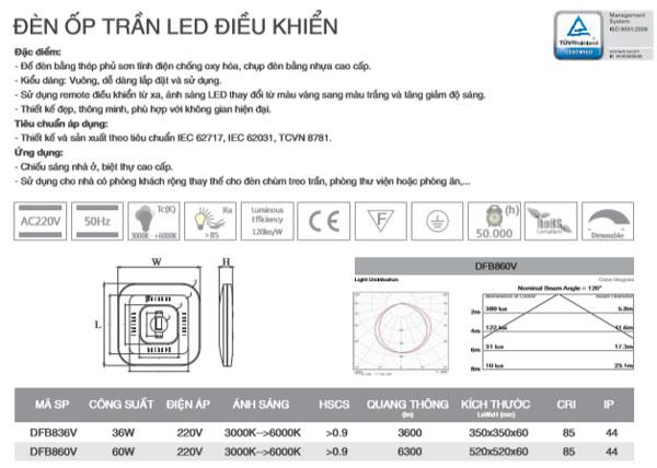 Đèn led ốp trần vuông điều khiển từ xa 36W DFB836V Duhal