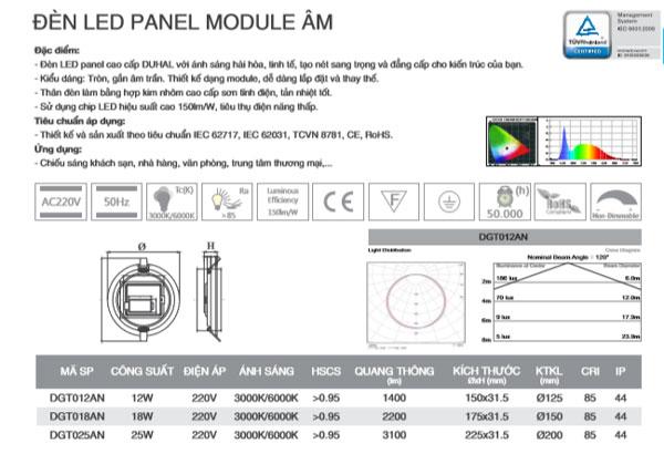 Thông số kỹ thuật đèn led âm trần 25W DGT025AN Duhal