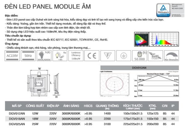 Thông số kỹ thuật đèn Led âm trần vuông 18W DGV018 Duhal