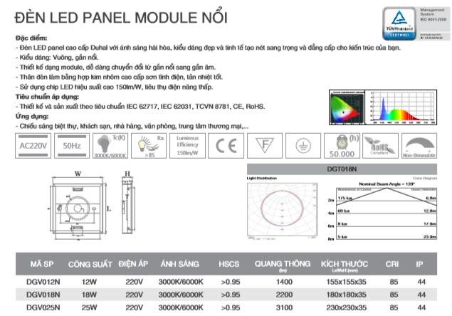 Đèn Led gắn nổi vuông 25W DGV025N Duhal