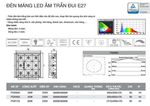 Thông số kỹ thuật Máng đèn Led âm trần 1M2 PQX125 Duhal
