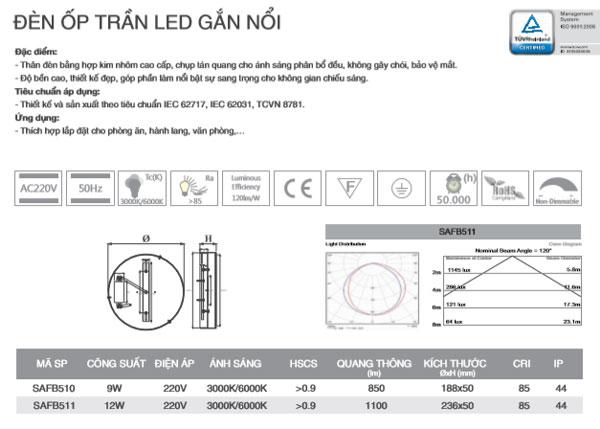 Thông số kỹ thuật đèn ốp trần gắn nổi 9W SAFB510 Duhal