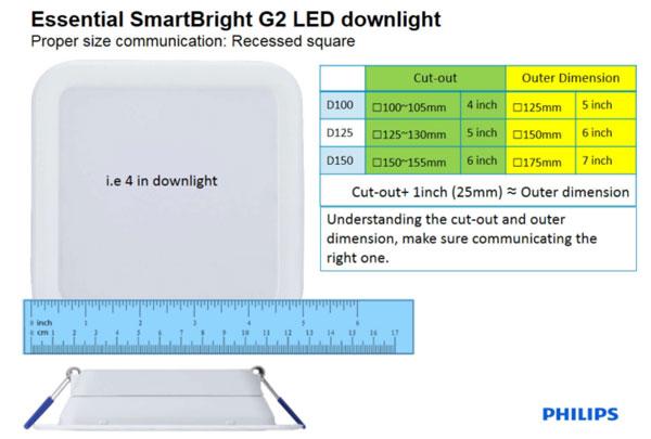 Đèn Led downlight 4W DN027B Philips vuông