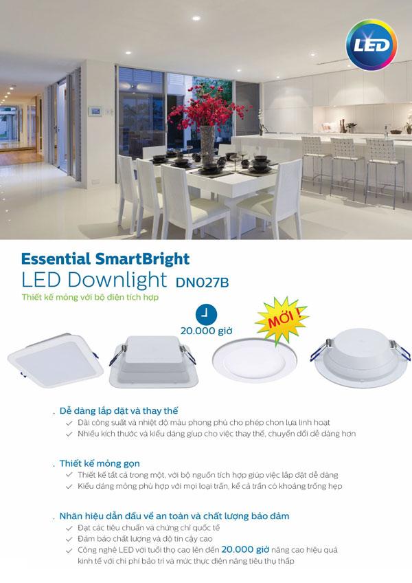 Đèn Led downlight vuông 15W DN027B Philips