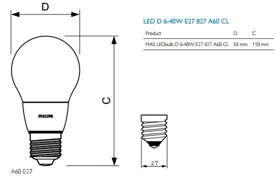 Bóng Master Led Bulb 6-40W 827 E27 A60 CL Dim