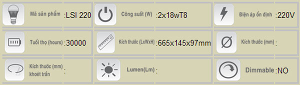Máng đèn chống thấm T8 2x18W LSI-220 Duhal