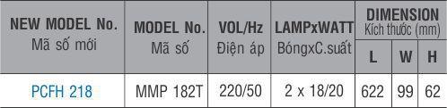 Bộ đèn huỳnh quang PCFH 218 Paragon 2x18W