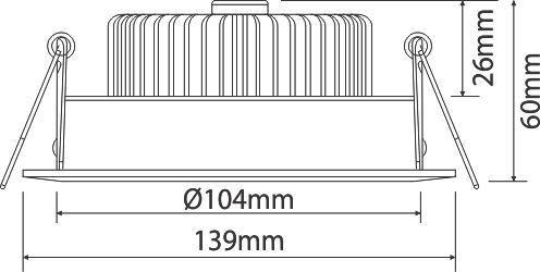 kích thước đèn Led downlight âm trần PRDLL 139L12/30/42/65 Paragon