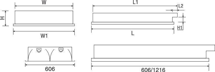 Máng đèn huỳnh quang âm trần PRFC218 Paragon 2x18/20W