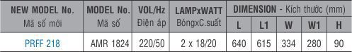 Máng đèn huỳnh quang âm trần PRFF 218 Paragon 2x18W