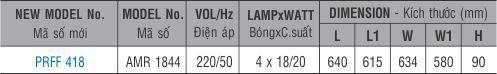 Máng đèn huỳnh quang âm trần PRFF 418 Paragon 4x18/20w