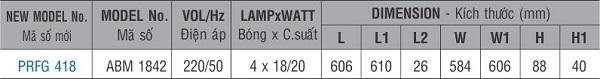 Máng đèn huỳnh quang âm trần PRFG 418 Paragon 4x18W