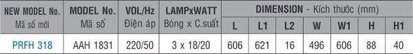 Máng đèn huỳnh quang âm trần PRFH 318 Paragon 3x18W
