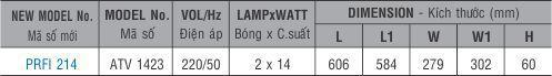 Máng đèn huỳnh quang âm trần PRFI 214 Paragon 2x14W