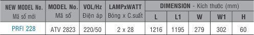 Máng đèn huỳnh quang âm trần PRFI 228 Paragon 2x28W
