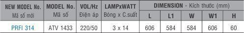 Máng đèn huỳnh quang âm trần PRFI 314 Paragon 3x14W