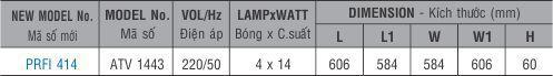 Máng đèn huỳnh quang âm trần PRFI 414 Paragon 4x14W