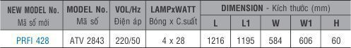 Máng đèn huỳnh quang âm trần PRFI 428 Paragon 4x28W