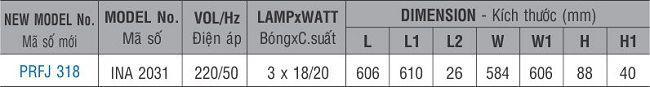 Máng đèn huỳnh quang âm trần PRFJ 318 Paragon 3x18W