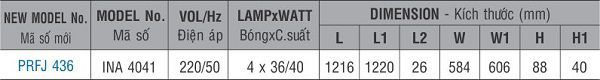 Máng đèn huỳnh quang âm trần PRFJ 436 Paragon 4x36W