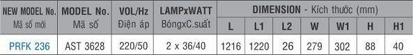 Máng đèn huỳnh quang âm trần PRFK 236 Paragon 2x36W