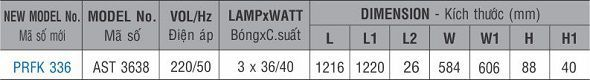 Máng đèn huỳnh quang âm trần PRFK 336 Paragon 3x36W