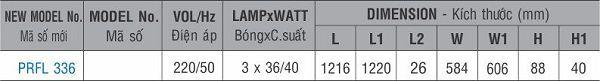 Máng đèn huỳnh quang âm trần PRFL 336 Paragon 3x36W